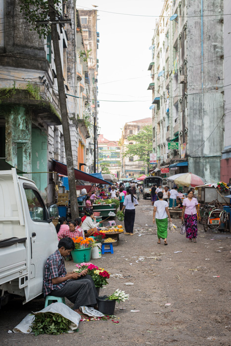 Street market stalls in downtown Yangon