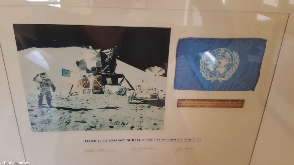 The crew from Apollo 15 donated this badge to U Thant