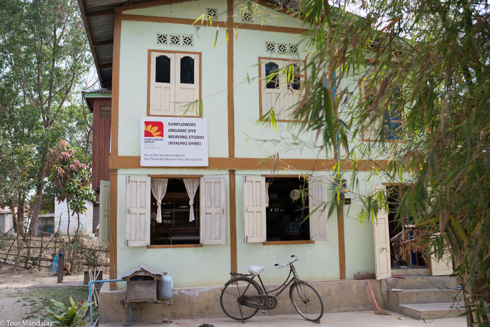 The pleasant building in which Sunflowers Organic Weaving's Inle Lake workshop is located