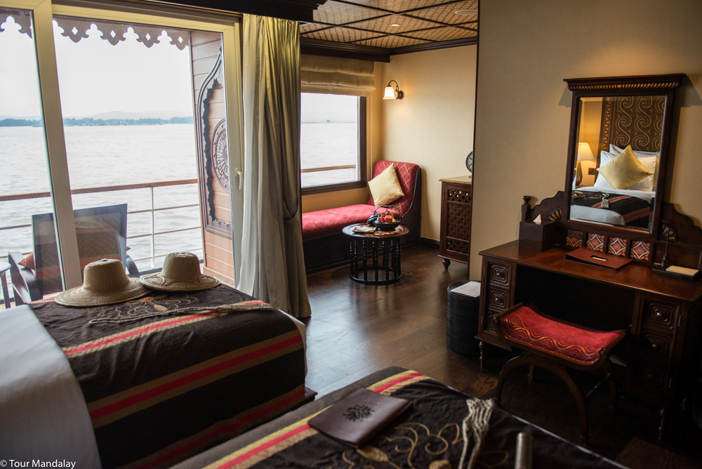 The Anawrahta's Deluxe Stateroom, which at 32 square metres is the largest entry level cabin on the river
