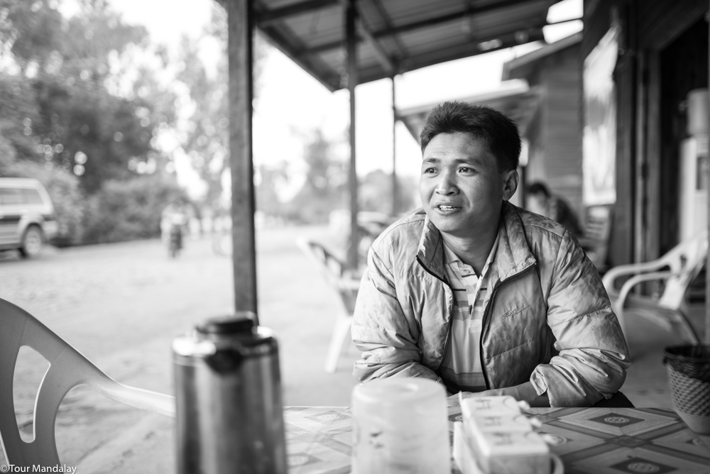 Enjoying a cup of tea with Aung Ram in Putao town