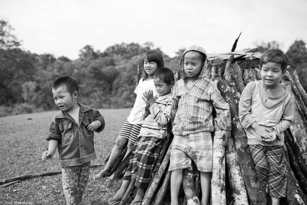 Playful children watch over a young lady chopping wood for that evening's festivities