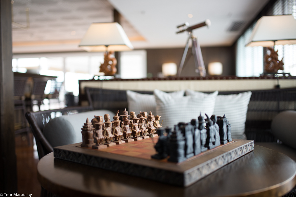 A wooden chess set with hand-carved pieces